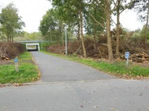 cykelrute mod Langesø og Middelfart ved tunnel under Kalørvej